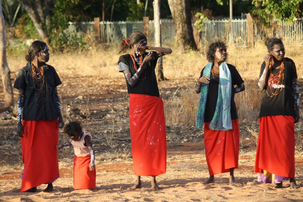 HONOURING WOMEN: Djilpin Dancers of Beswick performed the White Cockatoo dance in Katherine on Saturday.