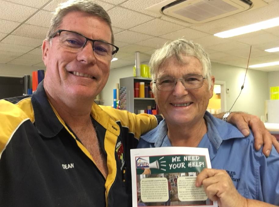 COMMUNITY INPUT: Dean Hersey and Chris Dixon at Katherine Sign Management, the first Men's Shed Sponsors.