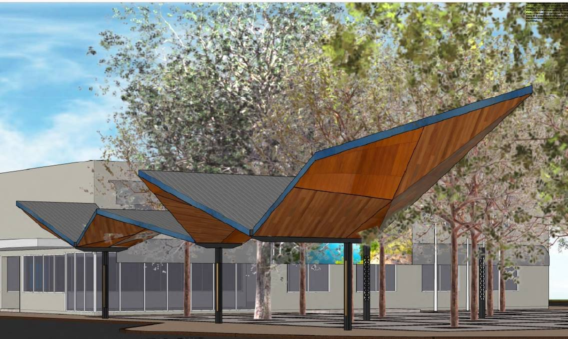 There would be a new shade sail structure which reflects the meandering course of the Katherine River. Graphics: Ashford Group Architects.