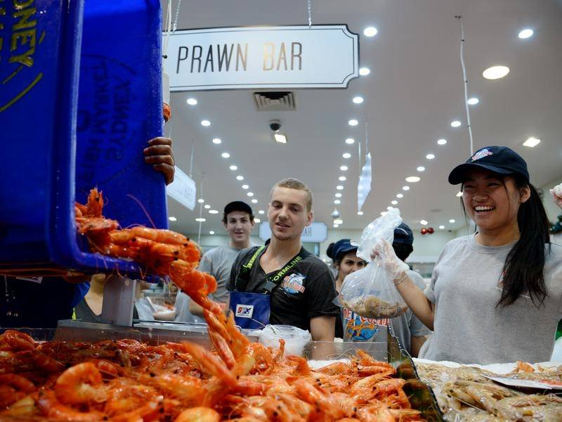 Sydney shoppers are set to buy 130 tonnes of prawns during the fish markets' 36 hour trading period.